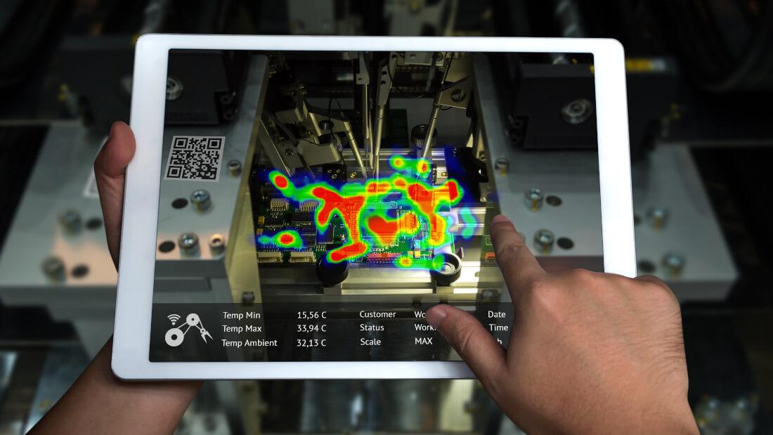 Maschine ist auf einem Tablet zu sehen