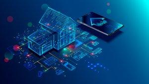Digitale Immobilie mit Handy