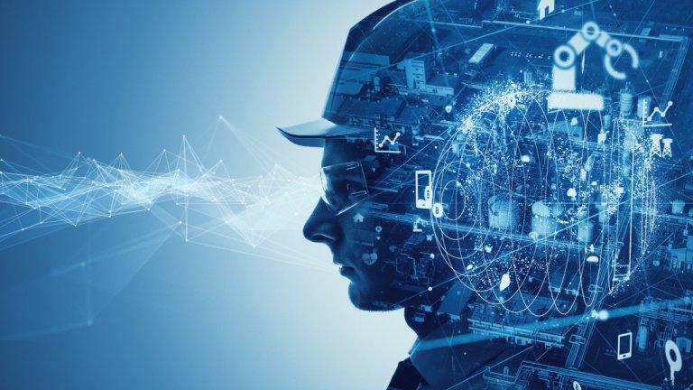 Profil eines Mannes auf digital-blauem Hintergrund